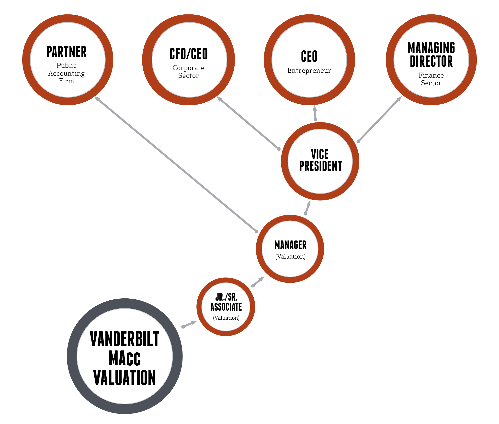MAcc Valuation Career Paths Graphic